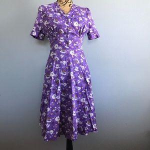 Lindy Bop 'Ionia' Purple Tea and Biscuits Tea Dres
